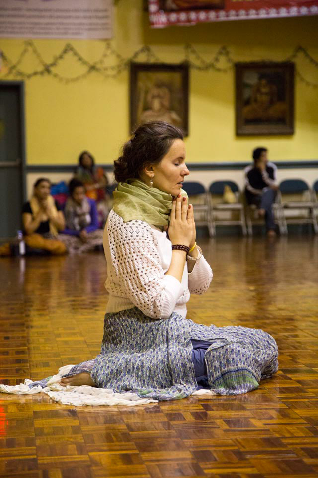 October 8, 2012- A woman prays at the Hare Krishna Temple in Brooklyn, NY.