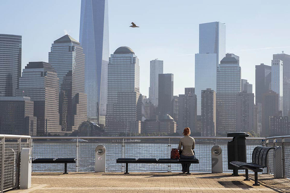 A woman waits for the the ferry in the Paulus Hook Station, in Jersey City, on Oct. 3, 2014.