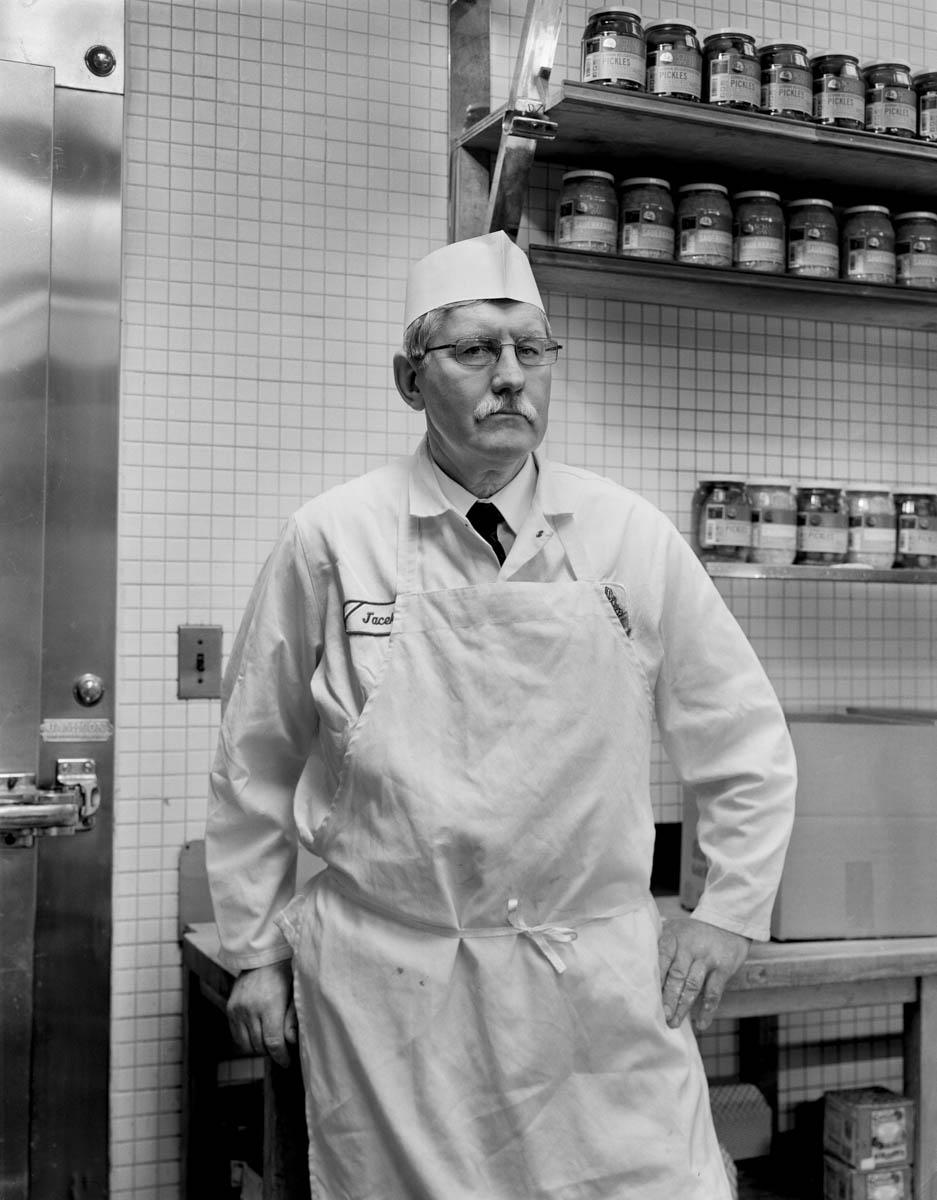Jack Danielak, born in Lublin, Poland, in Schaller and Weber Meat Market, March, 2015, New York City.