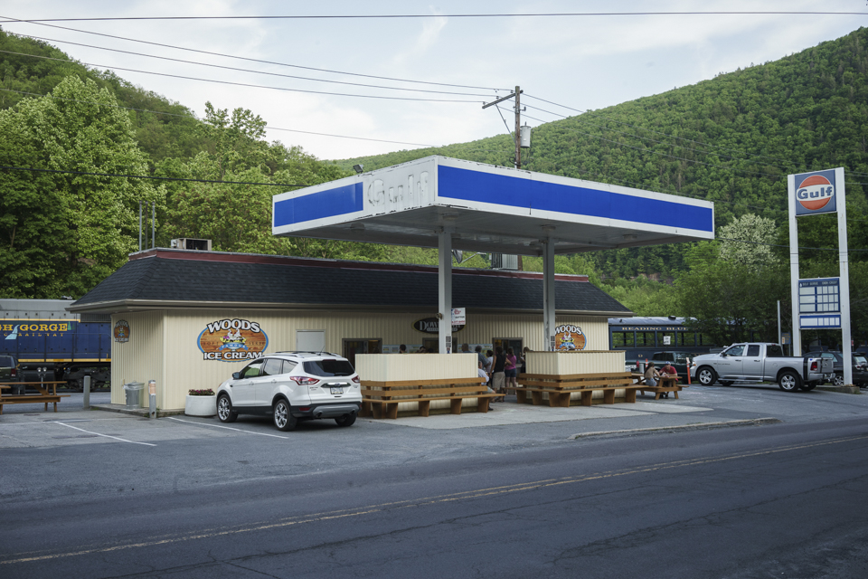 A Converted Gulf Station, Now Ice Cream Booth