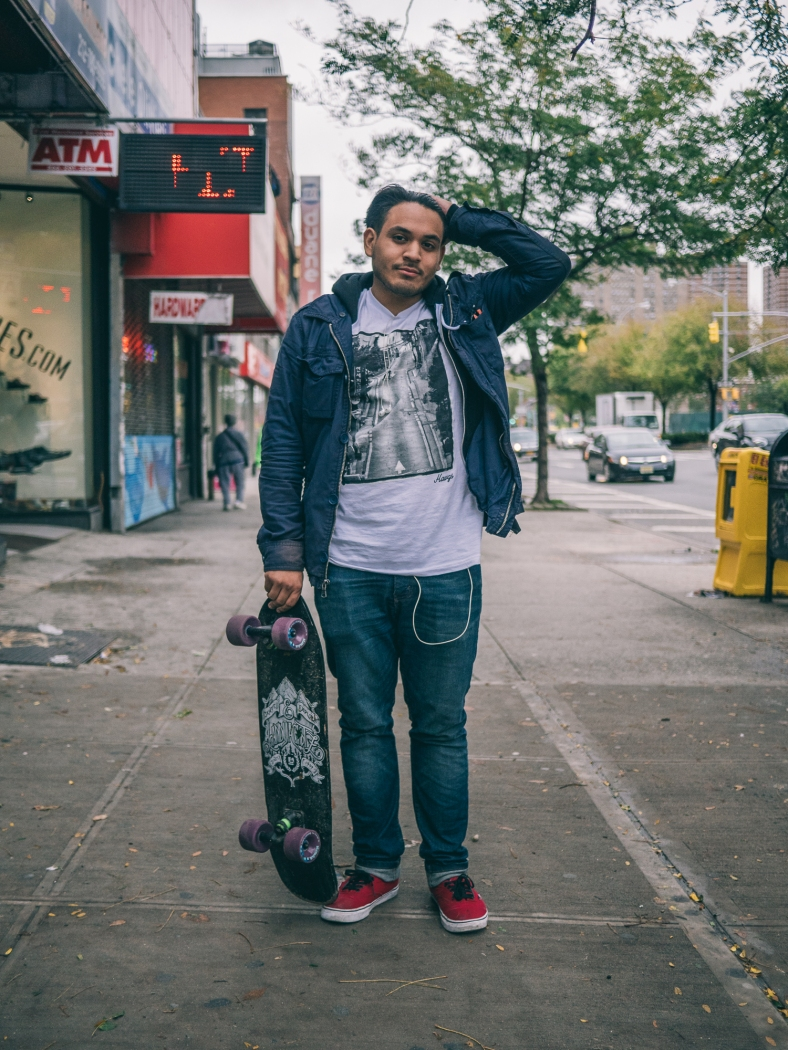 Kevin, long boarding to work exhausted after a 6 day work week. Lower East Side, October 6, 2015.