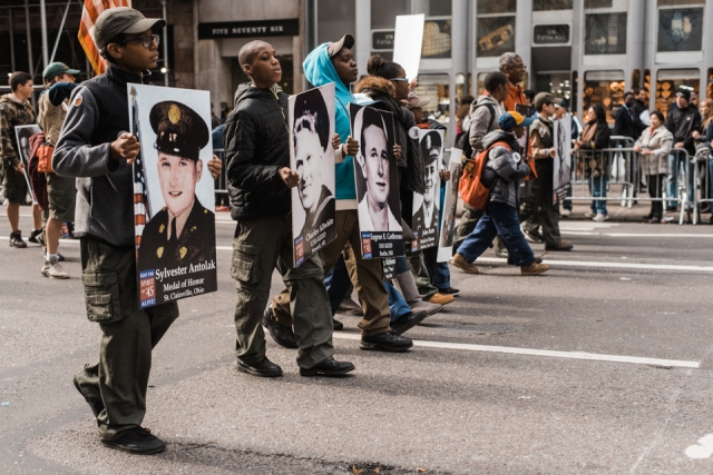 Kids marching for the Keep the Spirit of '45 organization at America's Parade on November 11, 2015. ©Leda Costa