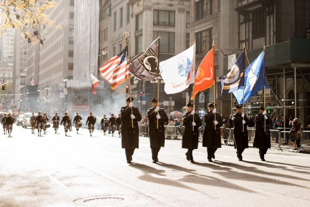 Flag guard marching at America's Parade on November 11, 2015.  ©Leda Costa