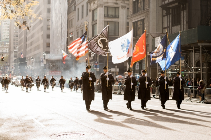 Flag guard marching at America's Parade on November 11, 2015.  ©Leda Costa