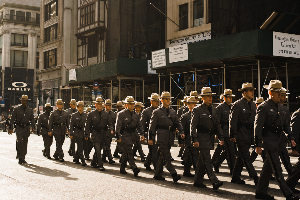 New York State Troopers marching at America's Parade on November 11, 2015. ©Leda Costa
