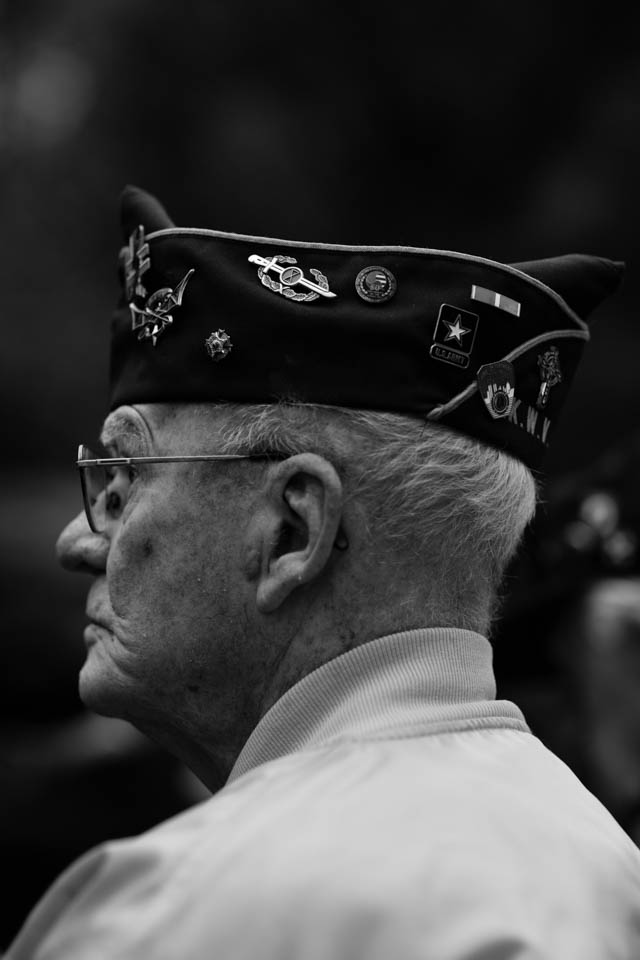 An eldery veteran listens to the speeches at the opening ceremony of the America's Parade 2015 at Madison Square Park.
