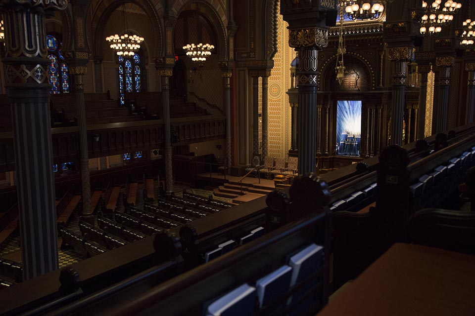 A view from the balcony at the Central Synagogue in midtown Manhattan.