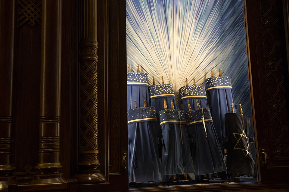 The Torah Ark on the Bimah contains the Torah Scrolls, Central Synagogue in Manhattan.