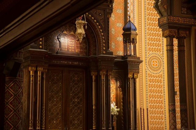 Extensive stencil work decorates the Sanctuary at the Central Synagogue in Manhattan.
