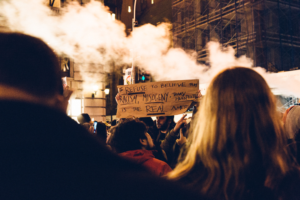 Outrage out the front of Trump Tower on 11/9. Photo by Vanessa Ritchie.